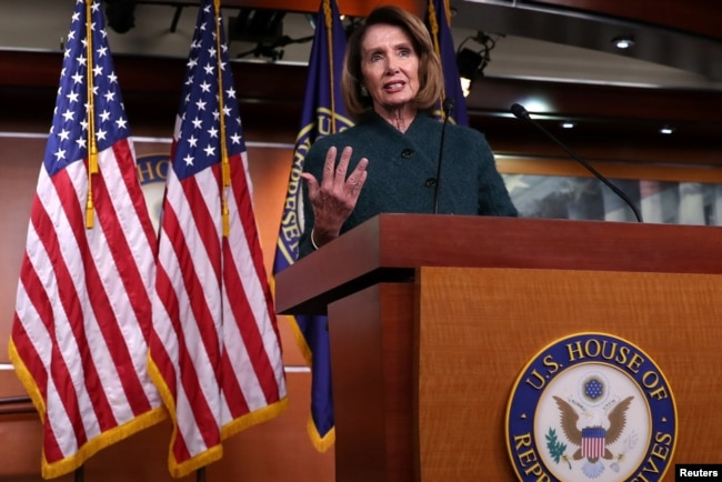 FILE - U.S. House Speaker Nancy Pelosi holds a news conference at the U.S. Capitol in Washington, Jan. 10, 2019.