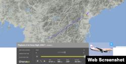 지난 22일 화재로 중국 셴양 공항에 긴급 착륙했던 북한 고려항공 Tu-204 항공기가 최근 북한 내에서 시험비행을 하는 모습이 포착됐다. 항공기 실시간 위치정보를 보여주는 '플라이트 레이더 24' 웹사이트 캡처 화면.