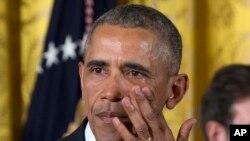 Presiden Obama saat menyampaikan pidatonya tetangan gagasan aturan pembatasan kepemilikan senjata, Selasa, 5 Januari 2016.