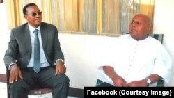 Bruno Tshibala, secrétaire général adjoint de l'Union pour la démocratie et le progrès social (UDPS), à gauche, avec Etienne Tshisekedi, président du parti, à Kinshasa, photo postée sur Facebook le 2 février 2017.