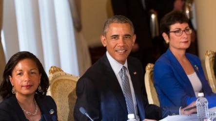 美国总统奥巴马在埃塞俄比亚首都亚的斯亚贝巴与海尔马里亚姆总理举行会谈。