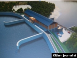 FILE: A model of Don Sahong dam.