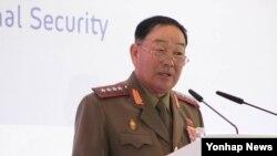 지난달 16일 러시아 모스크바 래디슨 로얄 호텔에서 러시아 국방부가 주관한 제4차 국제안보회의에서 현영철 북한 인민무력부장이 연설하고 있다. (자료사진)
