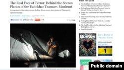 Foto Dzhokhar Tsarnaev saat ditangkap yang diabadikan oleh fotografer polisi Sean Murphy, dimuat di situs 'Boston Magazine' edisi 19 Juli 2013 (Foto: screen grab).