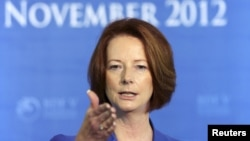 Australian Prime Minister Julia Gillard speaks during a news conference, November 8, 2012.