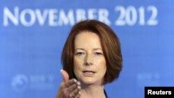 11月8日澳大利亚总理吉拉德出席记者会期间发表讲话