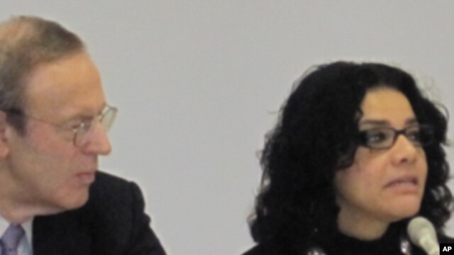 Mona Eltahawy, Egyptian Journalist/Blogger, right, and Carl Gershman, President, National Endowment for Democracy