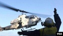Helikopter marinir AS jenis AH-1W Super Cobra saat latihan militer di California (foto: dok).