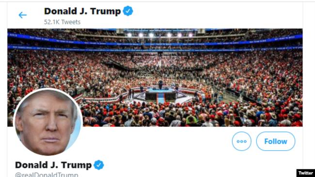 Trang Twitter của TT Trump