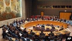북한 문제를 논의중인 유엔 안전보장 이사회 (자료사진).