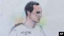 Bức phác họa bị can Jared Lee Loughner tại một phiên tòa