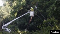 A power company worker surveys damage to overhead power lines on Canal Road in Washington, D.C., June 30, 2012, following an overnight storm in the area.