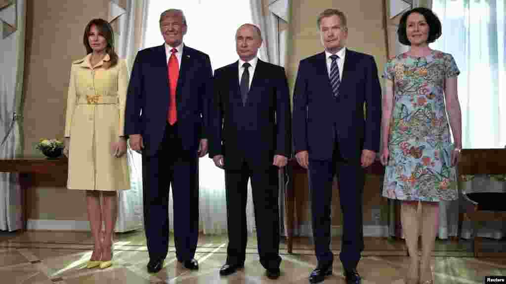 پرزیدنت ترامپ و بانوی اول در کنار ولادیمیر پوتین، رئیس جمهوری روسیه، رئیس جمهوری فنلاند و همسرش. فنلاند تاکنون میزبان چند دیدار مهم رهبران آمریکا و روسیه بوده است