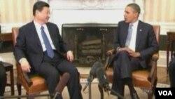 美国总统奥巴马与中国新领导人习近平(美国之音视频截图)