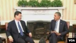 美國總統奧巴馬與中國新領導人習近平(美國之音視頻資料截圖)