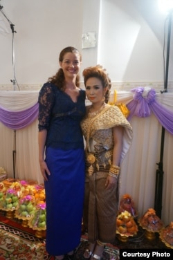 Erin Harrelson in her Khmer traditional clothes is attending a traditional Khmer wedding ceremony of a deaf couple. (Photo provided by Erin Harrelson)
