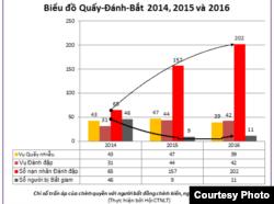 Biểu đồ - Báo cáo vi phạm Nhân quyền Việt Nam 2015-2016 của FVPOC. (Ảnh: FVPOC.org)