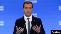 ນາຍົກລັດຖະມົນຕີ ຣັດເຊຍ ທ່ານ Dmitry Medvedev ກ່າວ ສະຫະລັດ ຣັດເຊຍ ພັກ ລັດຖະສະພາໃນ Moscow, 22 ມັງກອນ 2017.