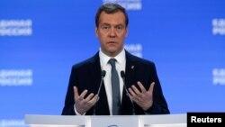 Perdana Menteri Rusia Dmitry Medvedev berbicara pada Kongres Partai di Moskow, Minggu (22/1).