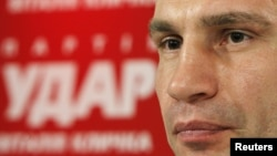 Heavyweight boxing champion and UDAR (Punch) party leader Vitaly Klitschko attends a news conference at his party's election headquarters in Kiev, October 29, 2012.