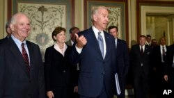Vice President Joe Biden meets with Democratic members of the Senate Foreign Relations Committee, Washington, Thursday, July 16, 2015, to pitch the nuclear agreement with Iran.