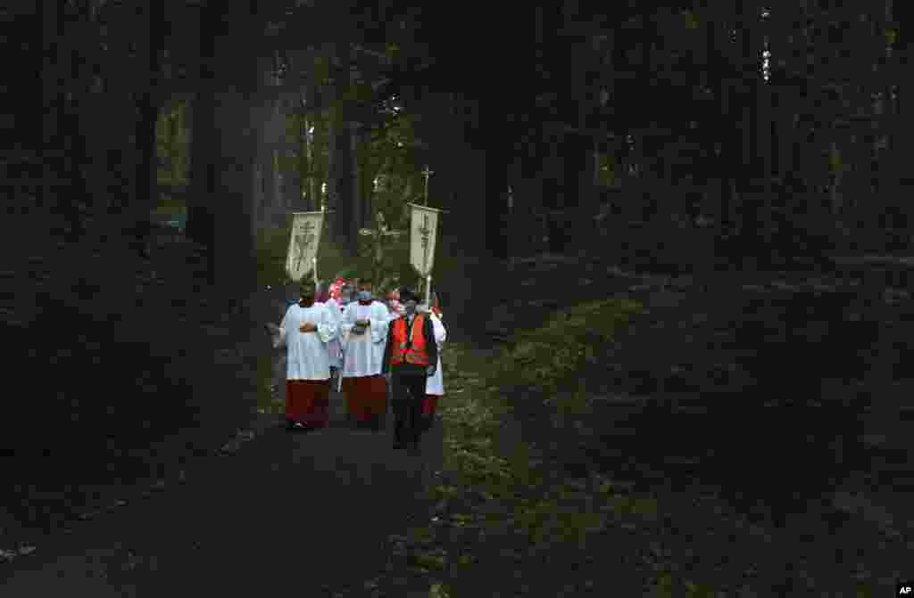 Believers walk through a forest near the pilgrimage church Maria Vesperbild during a light procession on Assumption Day, Aug. 15, 2020, in Ziemetshausen, Germany.