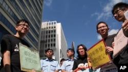 港大舊生於8月18日抗議李克強到訪(資料圖片)