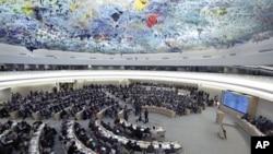 28일 스위스 제네바에서 시리아 사태를 논의하는 유엔 인권이사회.