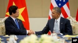 Ảnh minh họa: Tổng thống Obama và Thủ tướng Việt Nam Nguyễn Tấn Dũng trong cuộc họp tại Naypyitaw, Myanamr, ngày 13/11/2014.