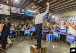 Democratic vice presidential nominee Tim Kaine speaks to Democratic activists and volunteers on Tuesday, Aug. 9, 2016, in East Austin, Texas. (Ricardo B. Brazziell/Austin American-Statesman via AP)