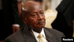 FILE - Uganda's President Yoweri Museveni attends an urgent session of the Summit of the Inter-Governmental Authority on Development (IGAD) on South Sudan in Ethiopia's capital Addis Ababa, June 10, 2014.