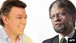 Cựu Bộ trưởng Quốc phòng Juan Manuel Santos (trái) và cựu Thị trưởng Bogota Antanas Mockus (phải)