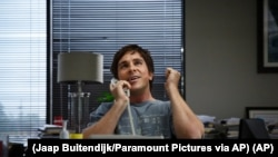 "In this image released by Paramount Pictures, Christian Bale appears in a scene from ""The Big Short."" (Jaap Buitendijk/Paramount Pictures via AP)"