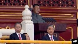 中國國家主席習近平2021年7月1日在北京天安門廣場發表中共建黨100週年慶祝活動講話。(美聯社)
