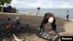 FILE - A fisherman prepares fish beside Lake Malawi, 120 km east of the capital Lilongwe. Malawi introduced the $75 visa fee from Oct. 1, 2015, in a bid to boost government revenue.