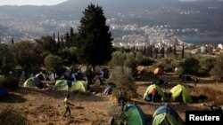 FILE - View of makeshift camp for refugees and migrants on the Greek island of Samos, October 20, 2017.