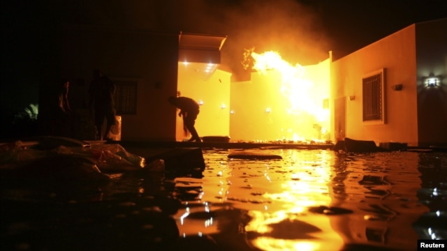 US consulate in Benghazi, Libya after attack