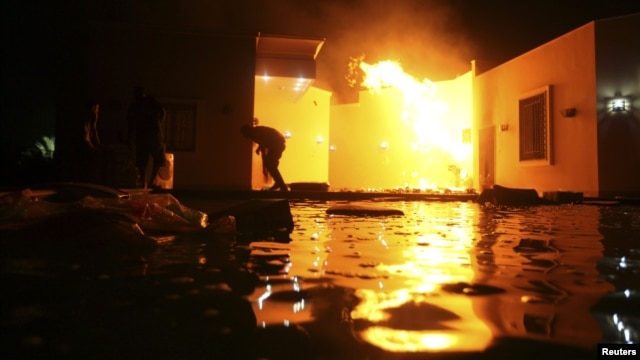 The United States consulate in Benghazi, Libya is seen in flames during an attack that killed four U.S. staffers, including Ambassador Christopher Stevens on September 11, 2012.