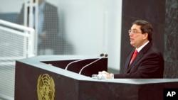 10월 29일 쿠바 외무장관이 유엔총회에서 연설하고 있다. 이날 유엔 회원국들은 미국의 쿠바에 대한 제재를 비난하는 결의안을 채택했다