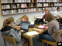 学生们在校内图书馆写课后作业