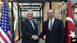 美国国务卿蒂勒森和土耳其外长在伊斯坦布尔会见(2017年7月9日)