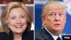 美國總統大選參選人共和黨川普(右)和民主黨克林頓(左)。