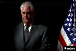 FILE - U.S. Secretary of State Rex Tillerson participates in the first meeting of the U.S. National Space Council at the National Air and Space Museum's Udvar-Hazy Center in Chantilly, Virginia, Oct. 5, 2017.