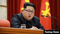 Lãnh tụ Bắc Triều Tiên Kim Jong Un kêu gọi tăng cường khả năng tấn công hạt nhân nhắm vào Mỹ, ngày 13/1/2016.
