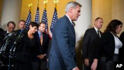 House Majority Leader Kevin McCarthy of California leaves a news conference after dropping out of the race to replace House Speaker John Boehner, on Capitol Hill in Washington, D.C., Oct. 8, 2015.