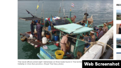 Trang Bangkok Post hôm 8/6/2019 đăng tin 8 ngư dân Việt bị Thái Lan bắt giữ. Photo Bangkok Post.