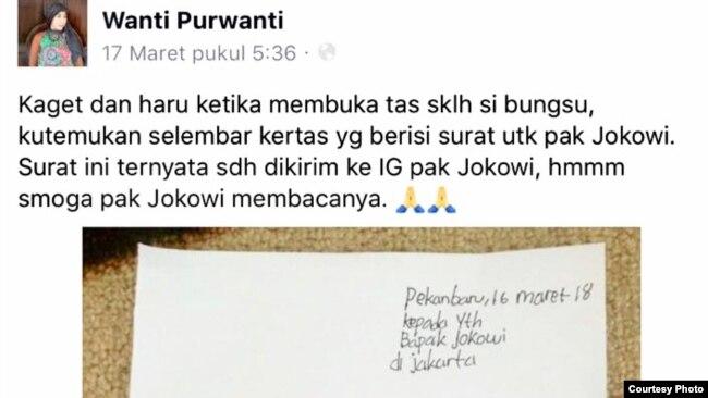 Surat Bulan Karunia Rudianti yang dikirimkan kepada Presiden Jokowi (Courtesy: Purwanti).