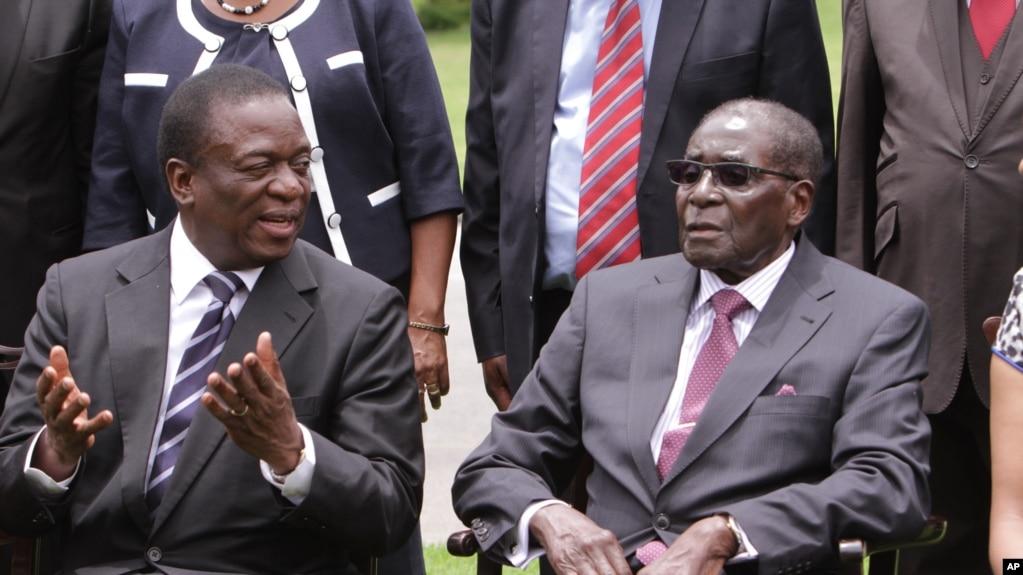 津巴布韋現任總統姆南加古瓦和前總統穆加貝