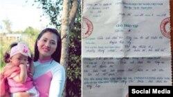 Blogger Huỳnh Thục Vy cùng con gái 22 tháng tuổi và giấy triệu tập lần 4. Photo Facebook Judy Nguyen.