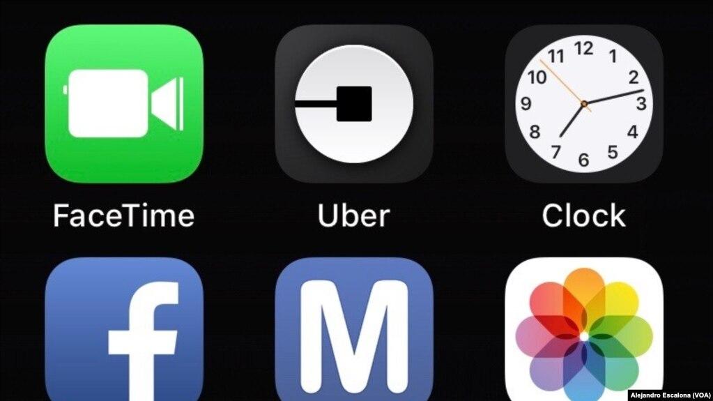 Aplicación de Uber en un teléfono iPhone. Washington, D.C. 1-3-18.